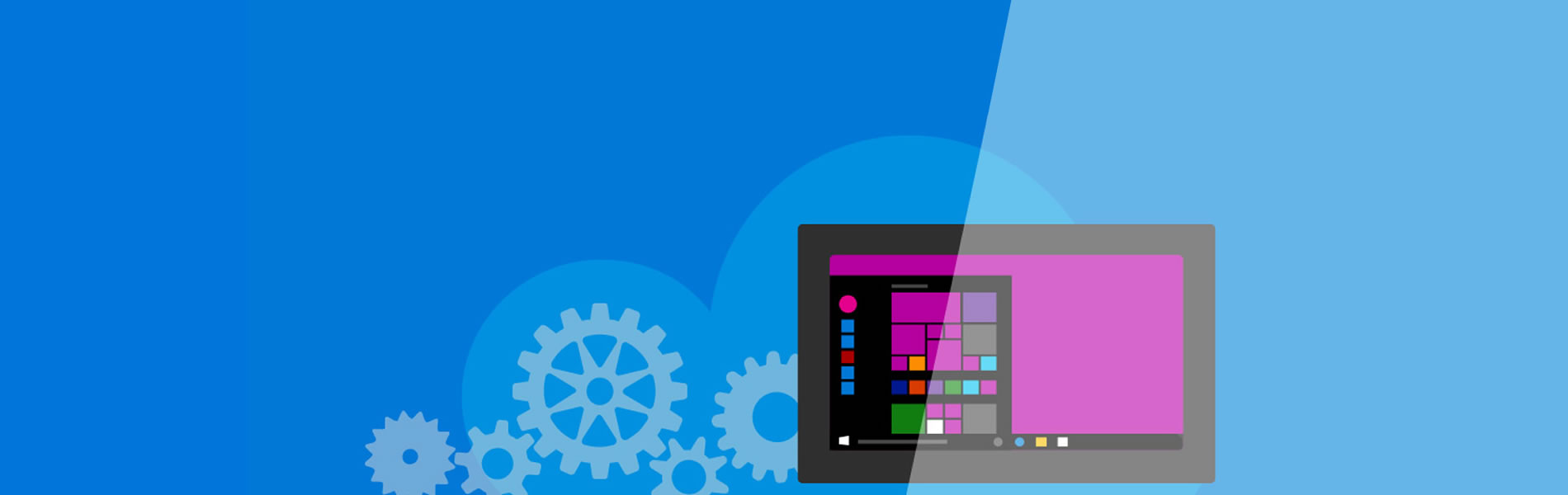 Illustration of a computer with the Windows start screen on a blue background with cogs behind the screen