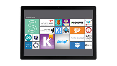 Photograph of tablet showing Microsofts app store.