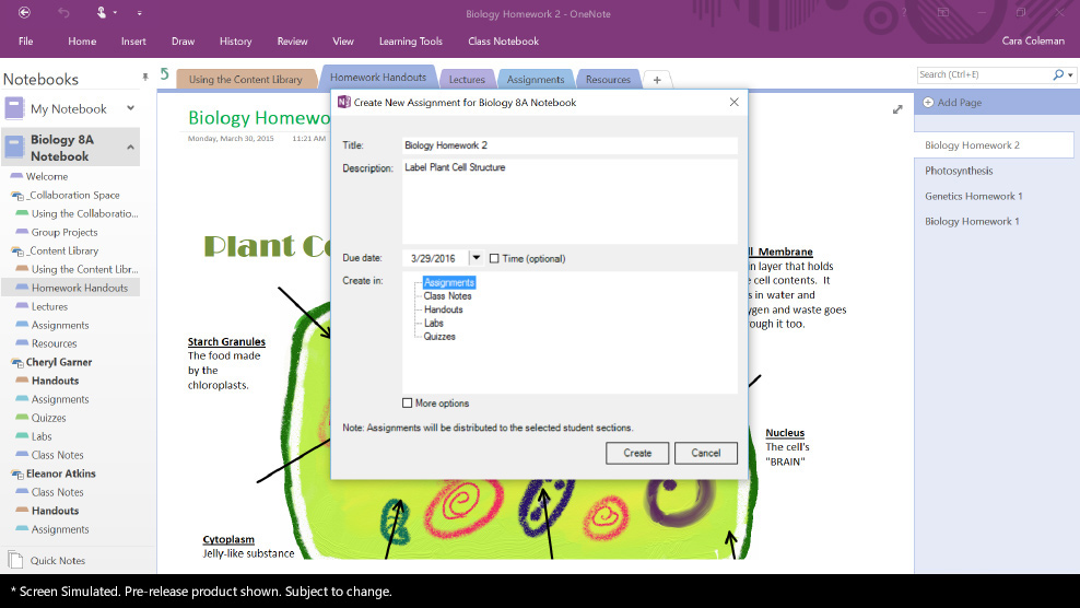 Image of Microsoft Classroom 'Create new assignment' UI