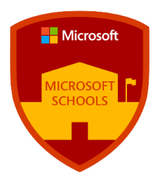 Microsoft schools red badge with a yellow school outline in the middle, with the Microsoft logo at the top