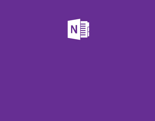 The icon of OneNote set behind a purple background.