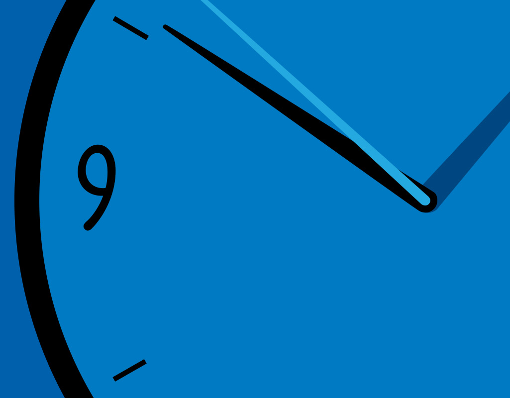 An image of a clock set behind blue background.
