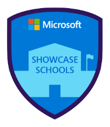 Microsoft showcase schools blue badge with a light blue school outline in the middle, with the Microsoft logo at the top