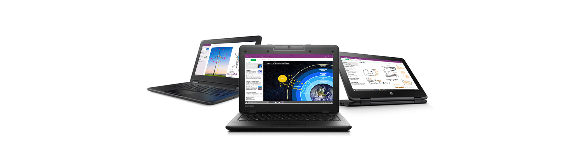 three windows devices each at different angles and showing a different windows product on the screen.