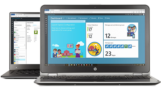 Two laptops running the Intune dashboard and homepage.