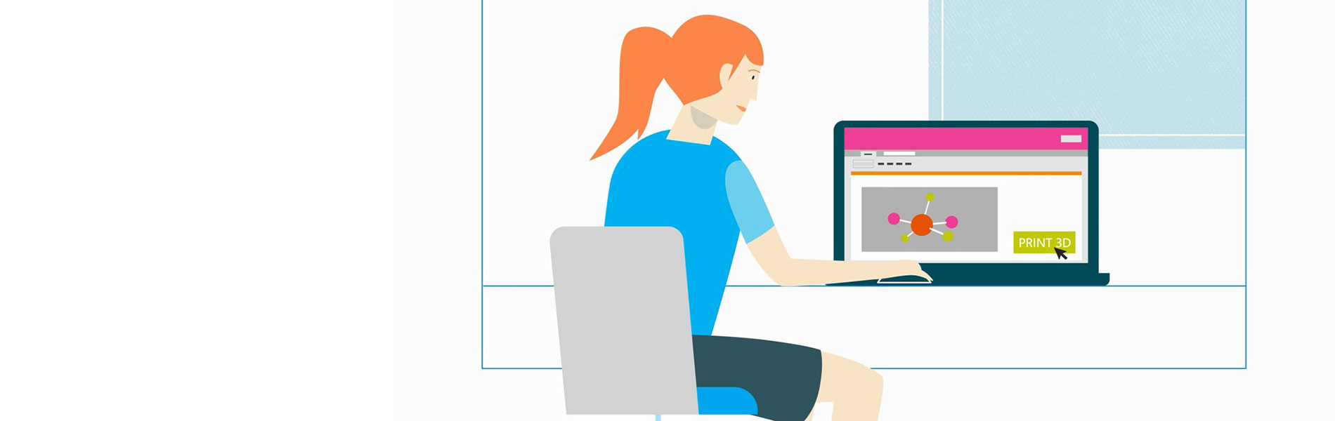 Illustration of a woman sitting at a desk with 3D modelling software, about to click the 3D print button