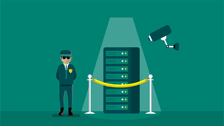 An illustration of a security guard and camera protecting a database for windows 10 education