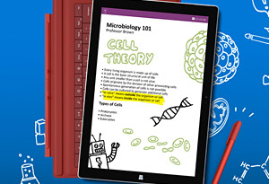 Picture of a Microsoft Surface displaying educational material on the subject of microbiology and cell theory.