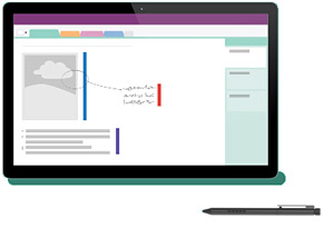Image of a tablet computer running OneNote with a stylus pen lying on the table in front of it.