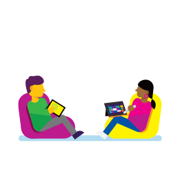 Illustration of a man and a woman each sitting on a bean bag both on surface tablets.