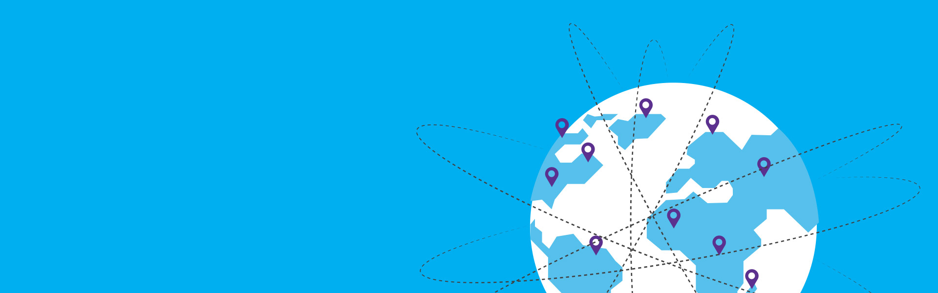 A picture of a globe with locations icons for each classroom particpating in the Skype-a-Thon