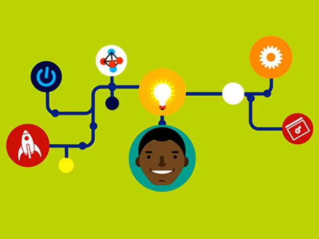 Illustration of a brain wave, showing a lightbulb above someones head directing off several paths leading to different ideas.