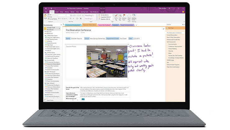 A Windows device showing written notes over an image in a OneNote application.