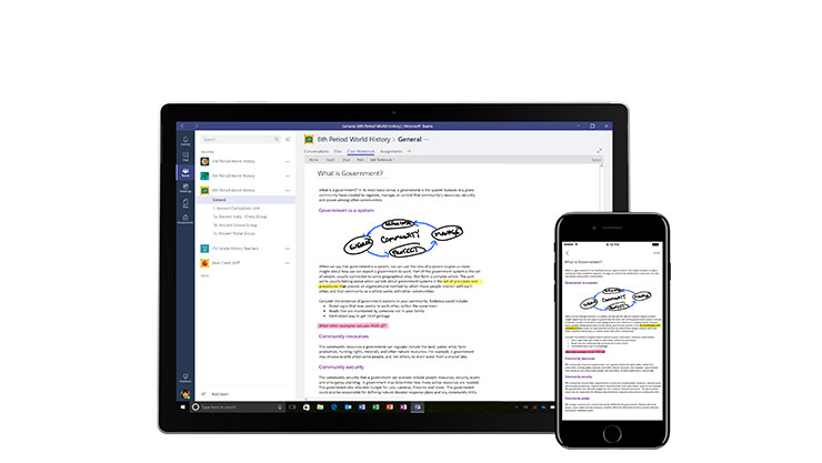 A tablet and a phone side by side showing a Microsoft Teams document with highlighted notes.