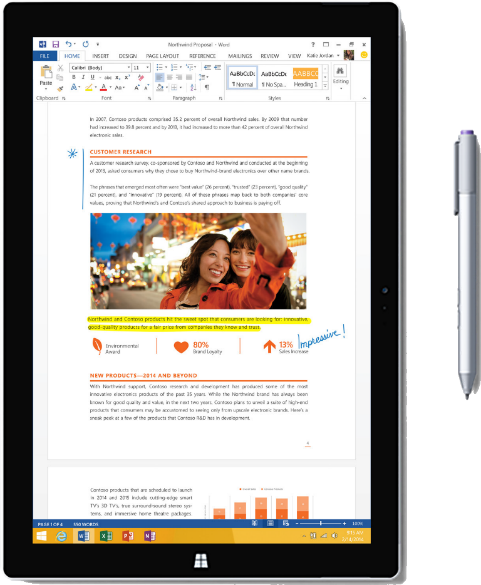 Image of a tablet with a microsoft word document loaded on it