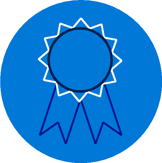 Small circular blue logo with a ribbon inside it